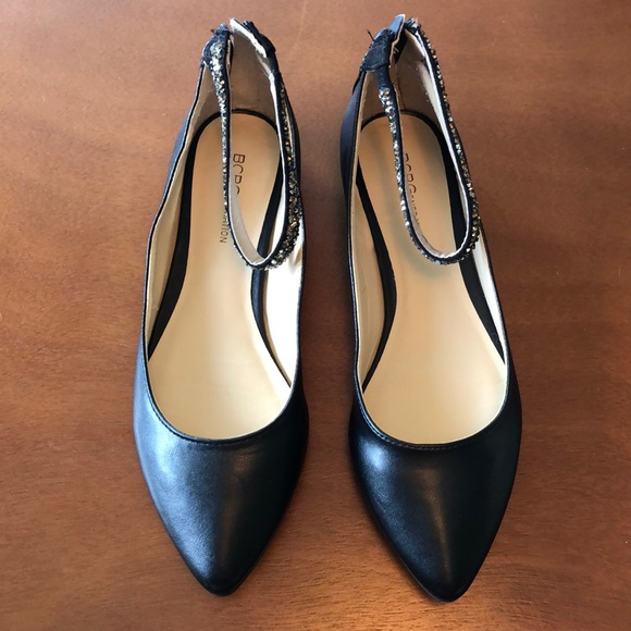 BCBGgenerarion Shoes - Black pointed toe flats with ankle strap.